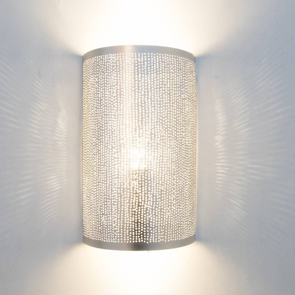 Zenza Wall Lamp Cylinder Filisky Silver -  17,5x9,5x30cm - Zenza Home - Copy