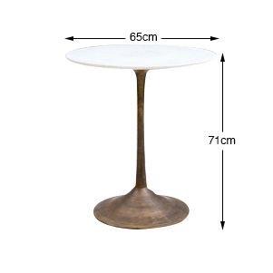 Dassie Artisan Table de bistrot laiton et marbre - Ø65xh71cm - Dassie Artisan