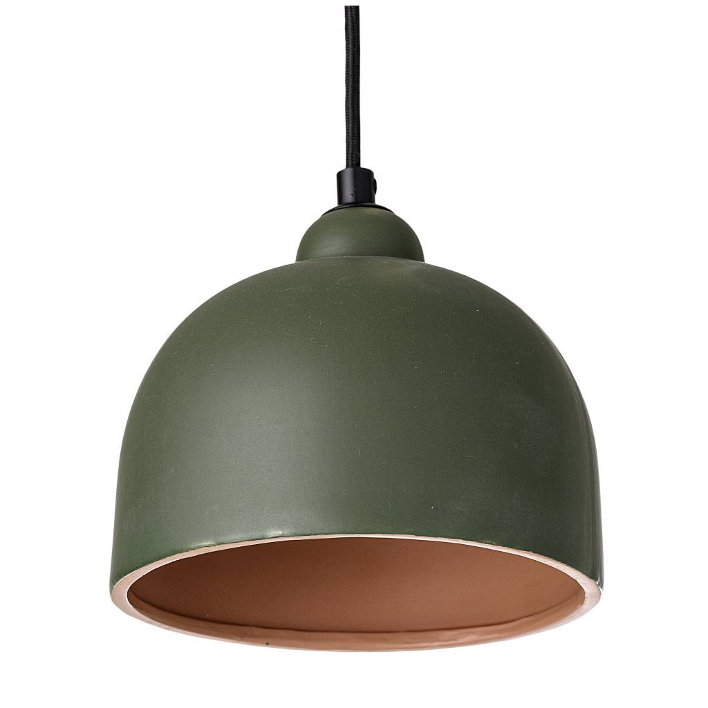 Bloomingville Pendant Lamp, Rose, Stoneware - Ø18xH15,5 - green - Bloomingville
