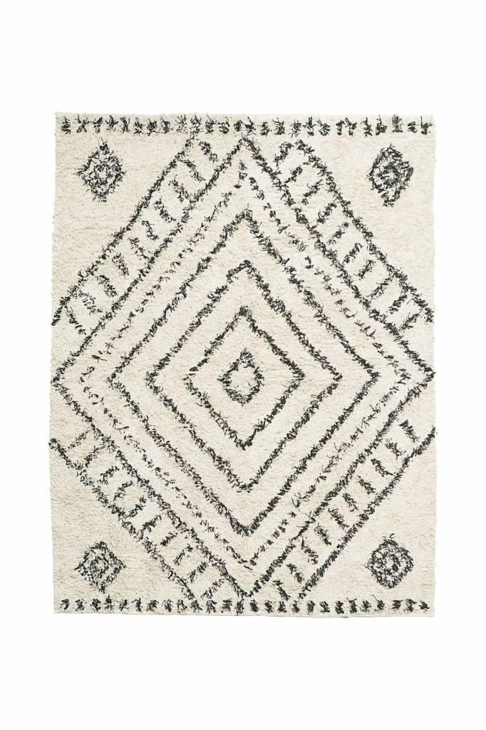 House Doctor Tapis Scandinave Ethnique  Nubia  - blanc et noir - 210x160 -  House 26c0d82670c2