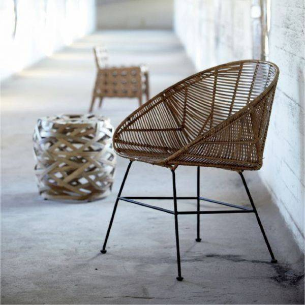 House Doctor Rattan Lounge Chair - Natural - 65.5xh84.5cm - House Doctor