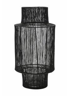 House Doctor Linterna de mimbre - negro - Ø22xH45cm - House Doctor