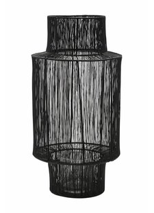 House Doctor rattan lantern - black  - Ø22xH45cm - House Doctor
