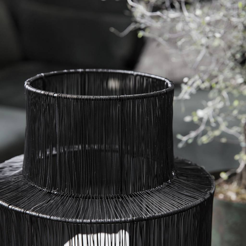 House Doctor rattan lantern - black  - Ø22xH35cm - House Doctor