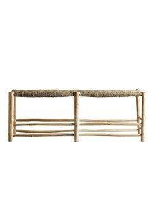 TineKHome Morrocan bench in palm leaf/wood - naturel - 138xh48cm - Tinekhome