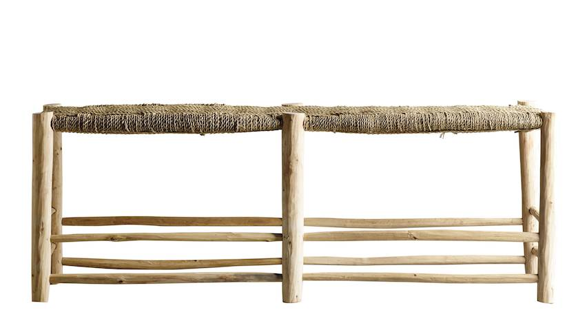 TineKHome Morrocan bench in palm leaf/wood - naturel - 138xh48cm - Tinekhome