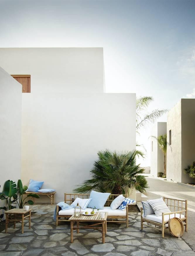 TineKHome Bambou lounge chair with white mattrass - 76x76xh27/70cm - TinekHome