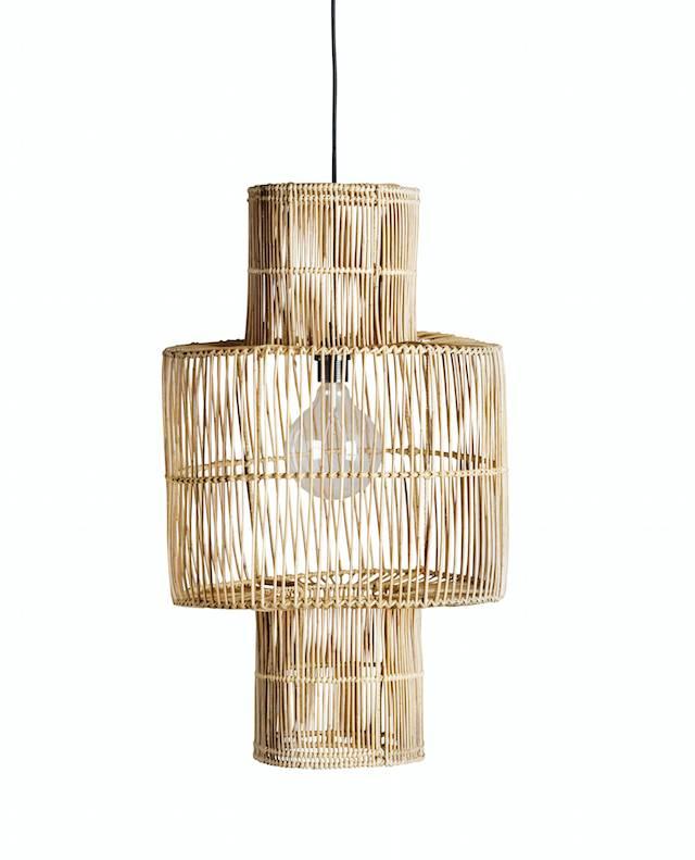 TineKHome Lámpara de techo en rattan - natural - Ø38xH70 - Tinekhome