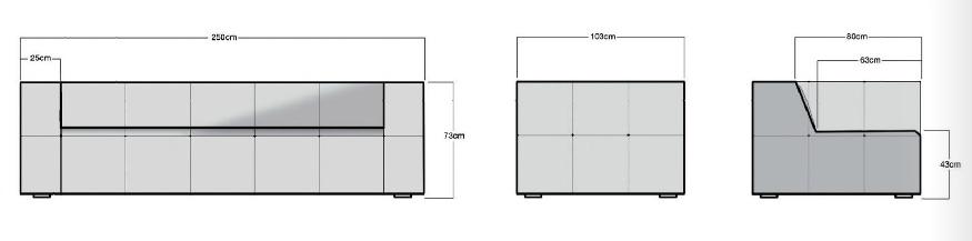 HK Living Canvas Sofa Cube - 4 seater - 250cm - Light Grey - HK Living