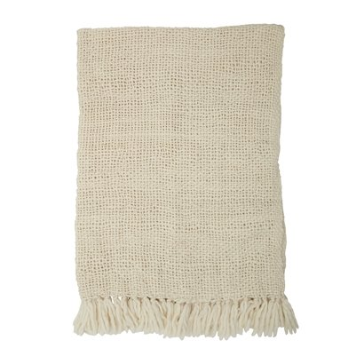Bloomingville Throw, White, Wool - 170x130cm - Bloomingville