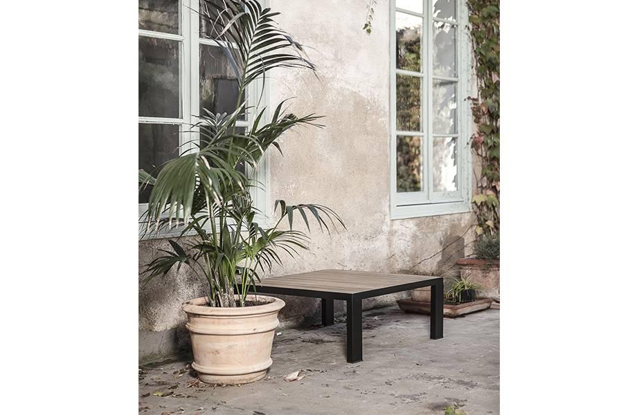 Dareels Table basse en teck et Fer - Exterieur - 40x40xh35cm - Dareels
