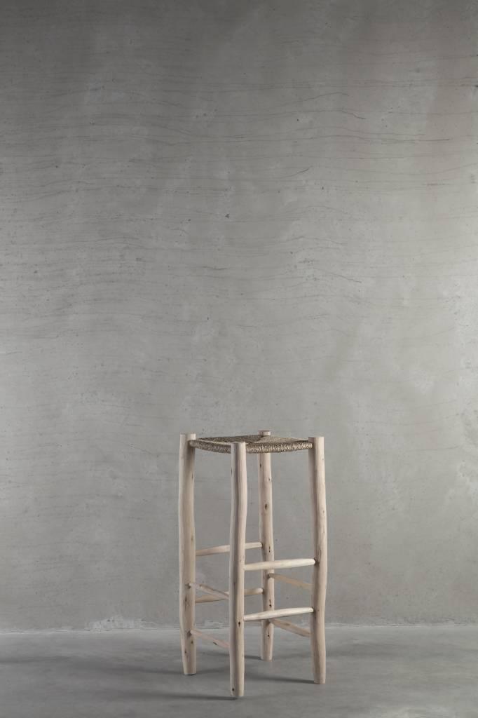 TineKHome Taburete alto en madera y hoja de palma - natural - Ø35x80cm - Tinekhome