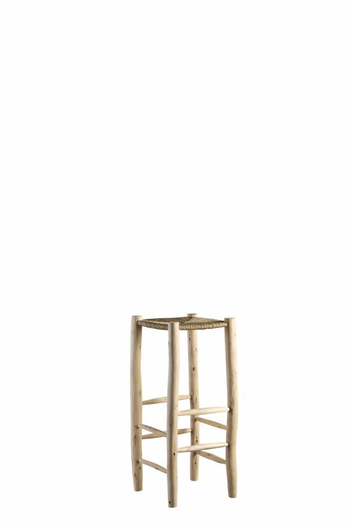 TineKHome Bar stool in palm leaf/wood - natural - Ø35x80cm - Tinekhome
