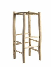TineKHome Bar stool in palm leaf/wood - natural - Ø35x80cm - Tinekhome