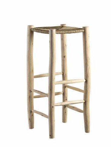 TineKHome Tabouret de bar en bois et feuille de palmier - naturel - Ø35x80cm - Tinekhome
