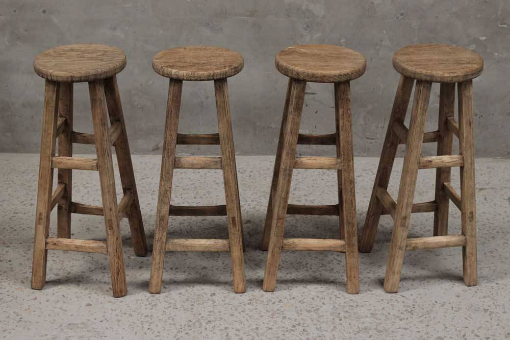 Petite Lily Interiors Round Bar Stool Ethnic - elm wood - ø30xh 80cm - unique piece