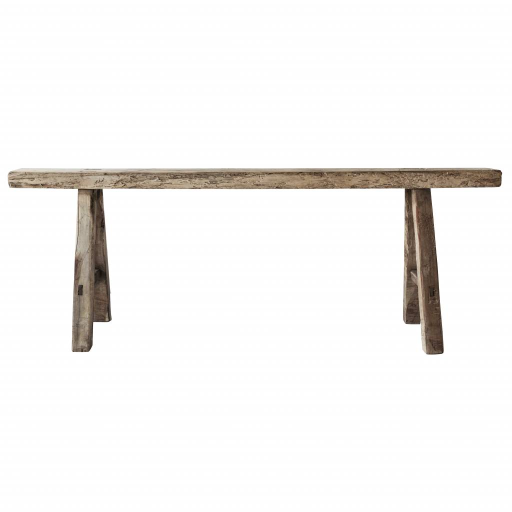 Bench Raw Elm wood - 126x15xh53cm - Unique Product