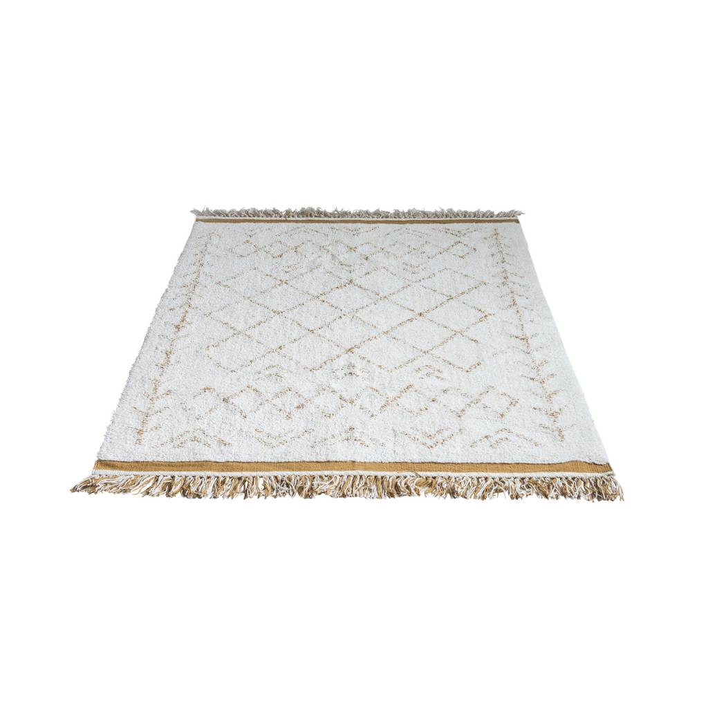 Bloomingville tapis scandinave en coton blanc 200x120cm bloomingville