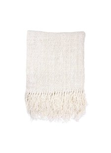 HK Living Linen throw / plaid - white - 130x170cm - HK Living