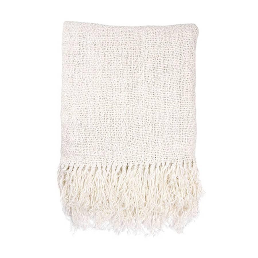 HK Living Colcha algodón de lino - blanca - 270x270cm - HK Living