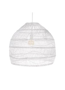 HK Living Lampe Suspension en osier - blanche - Ø60xh50cm - HK Living
