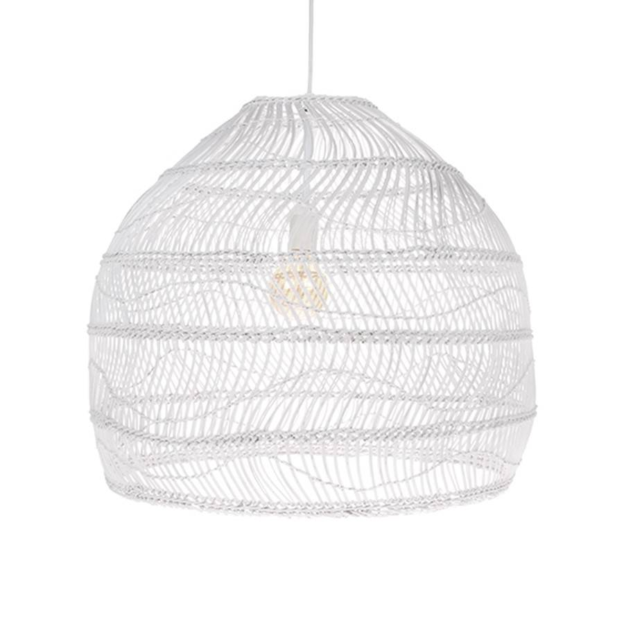Lampe Suspension en osier - blanc - Ø60xh50cm - HK Living - Petite ...