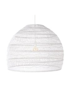 HK Living Lampe Suspension en osier - blanche - Ø80cm - HK Living