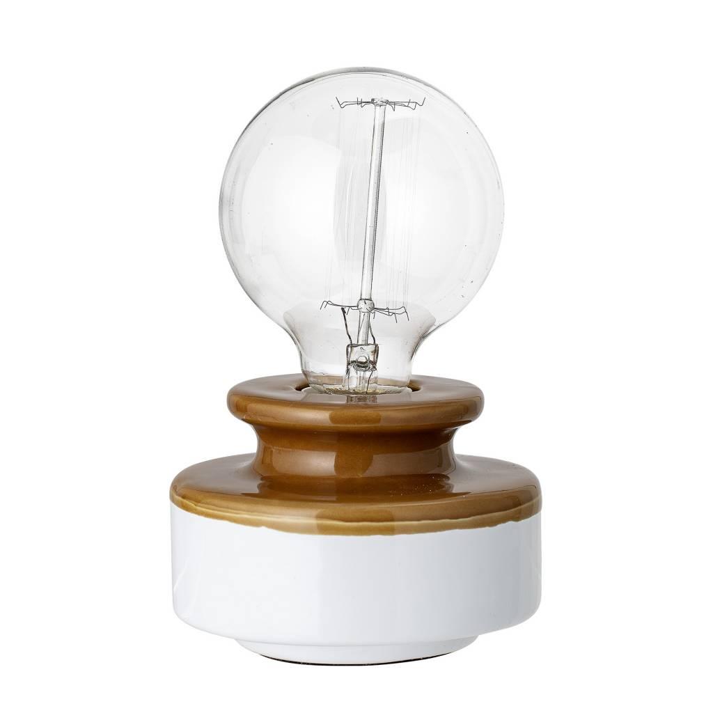 Bloomingville Lámpara de mesa gres - marrón - Ø12xH9cm - Bloomingville