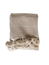 TineKHome Manta / Plaid de algodón marroquí con pompones - camel - 195x300cm - TinekHome