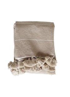 TineKHome Couverture / Plaid Marocain en coton avec pompons XL - camel - 195x300cm - TinekHome