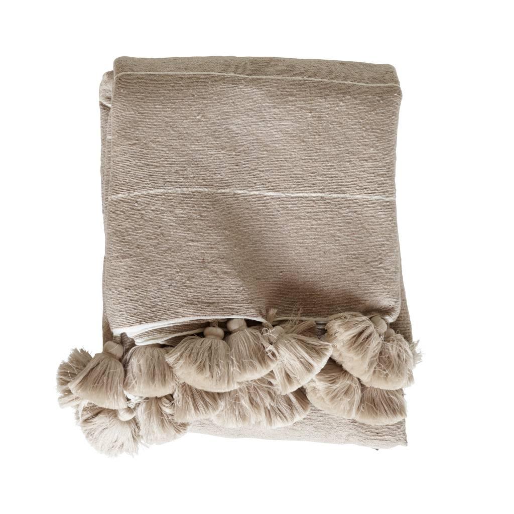 TineKHome Blanket / Plaid Wool Moroccan with tassels - camel - 195x300cm - TinekHome