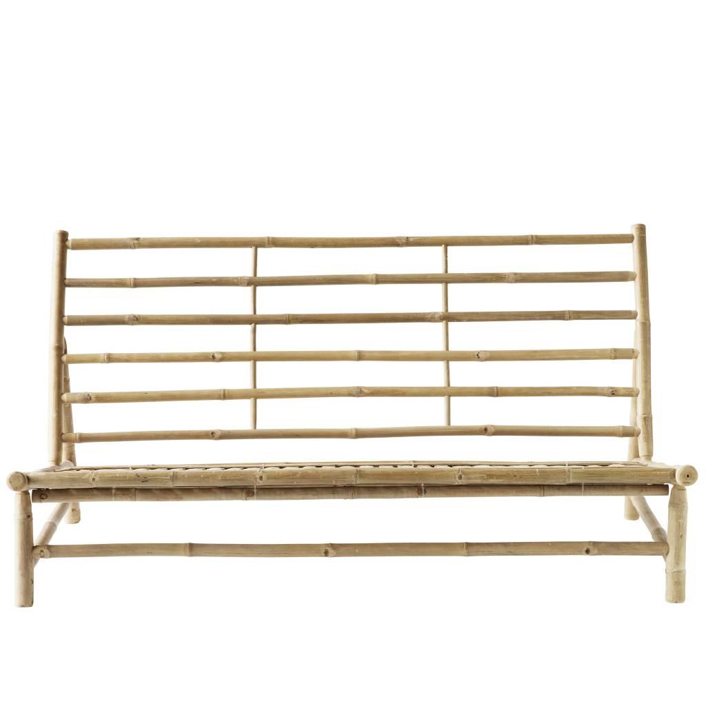 TineKHome Bamboo lounge sofa with white mattress - Outdoor - 160x87xH45/80cm - Tinekhome