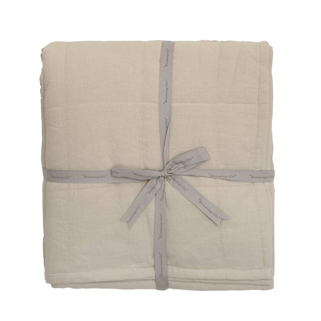 Bloomingville Cotton bedspread brown - L220xW260cm - Bloomingville