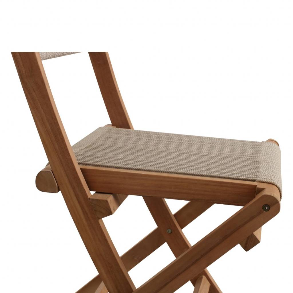 Petite Lily Interiors Rope folding bistro chair - teak - 47x40x88cm