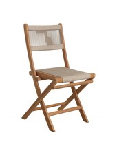 Petite Lily Interiors Rope folding bistro chair - teak - 47x40x88cm