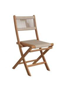 Petite Lily Interiors Chaise pliante bistro de jardin - corde et teck - 47x40x88cm