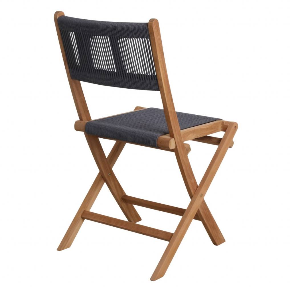 Petite Lily Interiors Rope folding bistro chair - teak - anthracite - 47x40x88cm