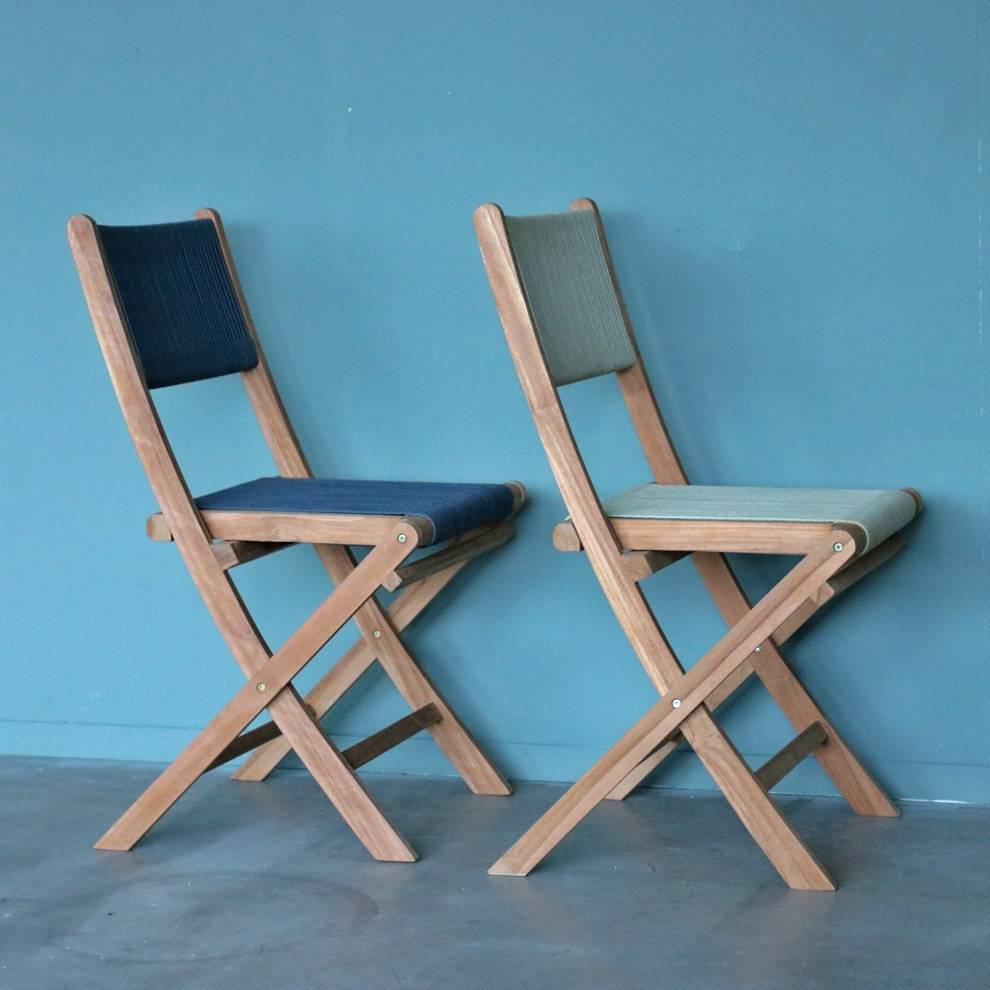 chaise pliante bistro de jardin corde et teck. Black Bedroom Furniture Sets. Home Design Ideas