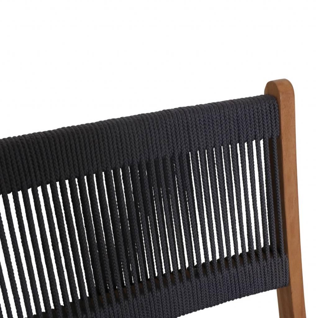 Petite Lily Interiors Silla Plegable de aire libre - cuerda y teca  - antracita - 47x40x88cm