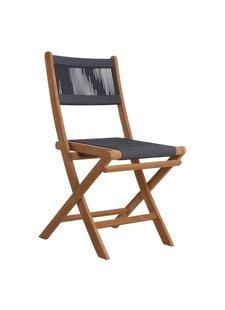 Petite Lily Interiors Chaise pliante bistro de jardin - corde et teck - anthracite -  47x40x88cm