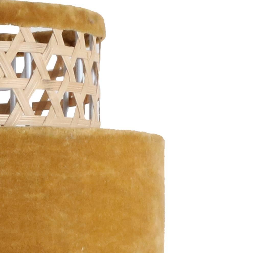 Petite Lily Interiors Lámpara cilindro retro de ratán y terciopelo - mostaza - Ø26xh31cm