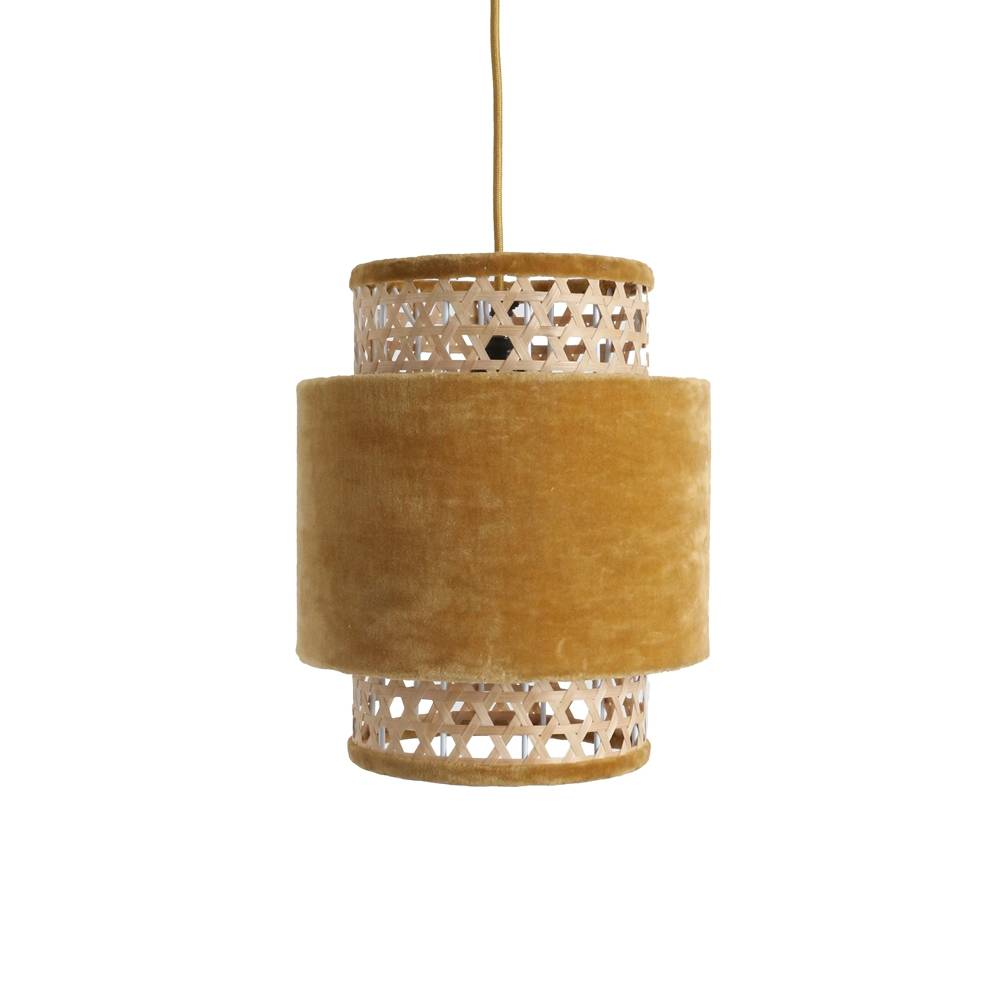 Petite Lily Interiors Retro lamp cilinder small mustard - rattan & velvet - Ø26xh31cm