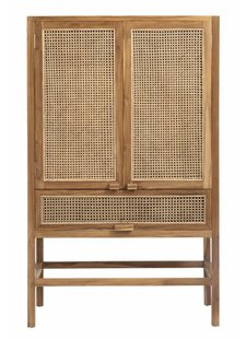 Nordal Cabinet retro, teak w/open mesh weaving - 100x50xh160cm - nordal