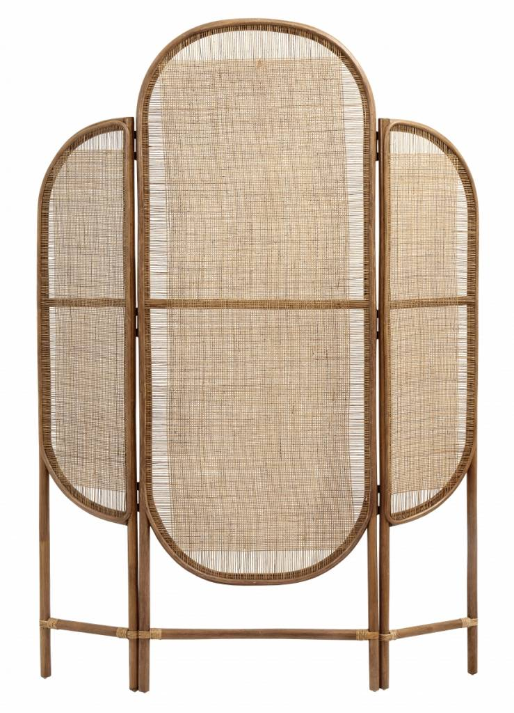Nordal Room divider retro, rattan/weaving, natural colour - 130x3xh180cm - nordal