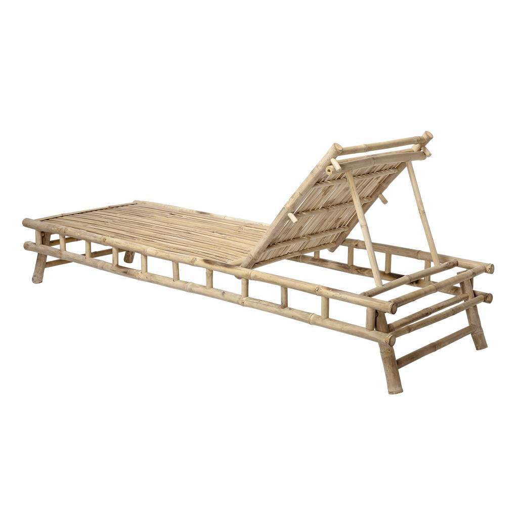 Bloomingville Bain de soleil de jardin Bambou avec coussin en blanc - 210x80xh36cm - Bloomingville
