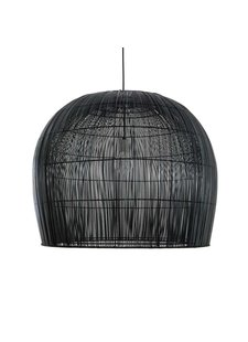 Ay Illuminate Suspension Bell Buri en fibre de palmiers - noir - Ø85xh85cm - Ay Illuminate