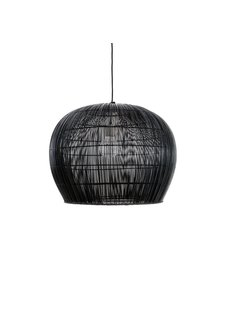 Ay Illuminate Suspension Bell Buri en fibre de palmiers - noir - Ø63xh47cm - Ay Illuminate