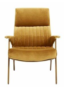 Nordal sillón de terciopelo y metal dorado - mostaza - 90x79x91cm - Nordal