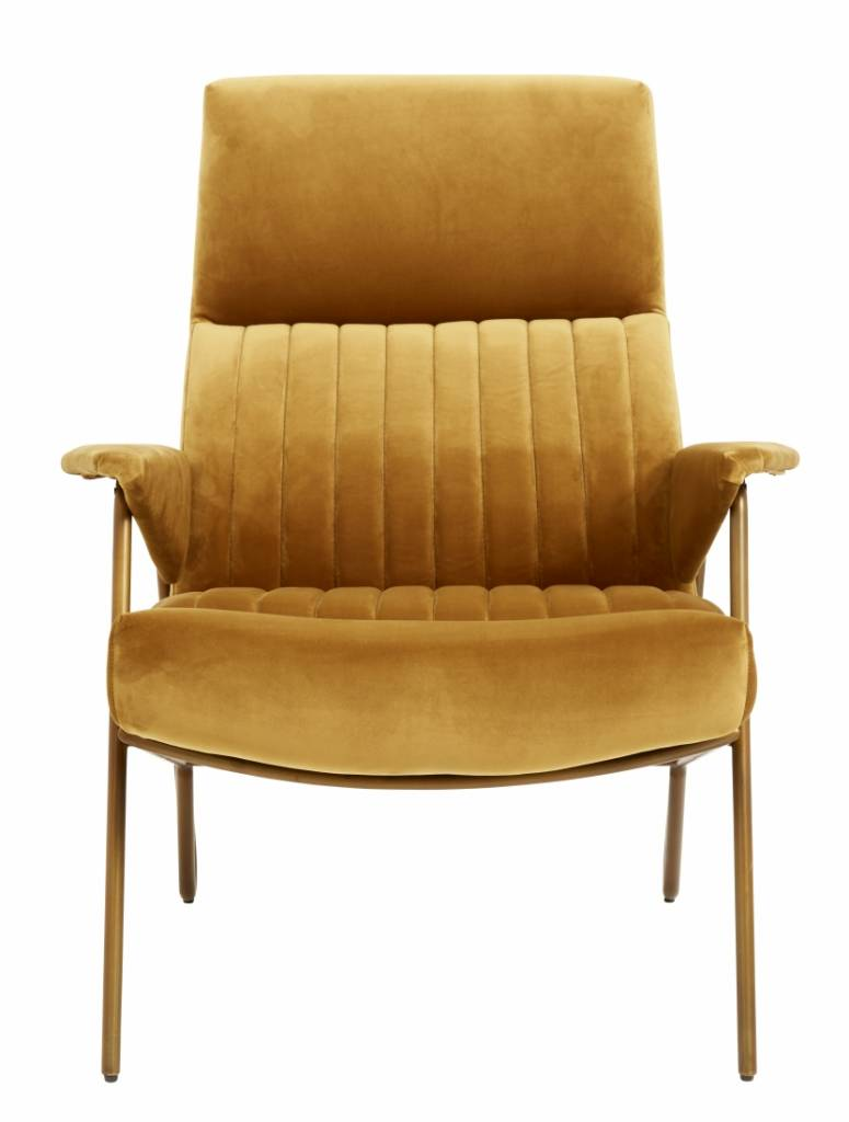 Nordal Ibex chair, velvet mustard / metal gold legs - L90xW79xH91cm - Nordal