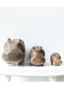 MaduMadu Hippo Family en wood - MaduMadu